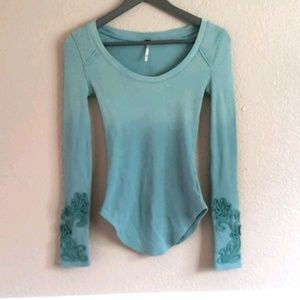 Free People ombre embroidered green top